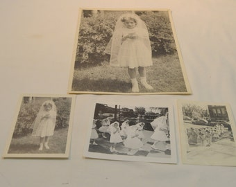 Vintage 1950s Little Girl First Communion Photos Black and White Lot of 4