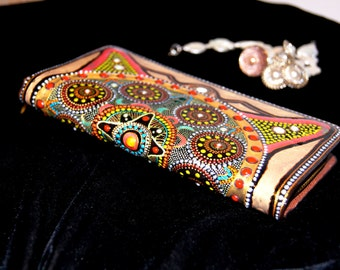Wallet, Mandala, Money Mandala, Financial Freedom, Clutch, Point to point Evening Purse, Phone case, going out accessories, dot painting,