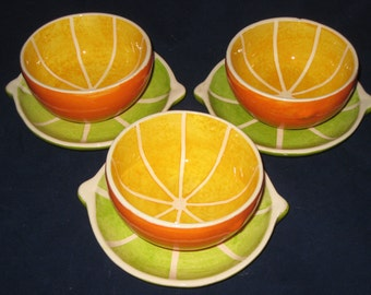 ON SALE Orange Bowls/Lime Plates/Orange and Limes/Unique Fruit Bowl Set