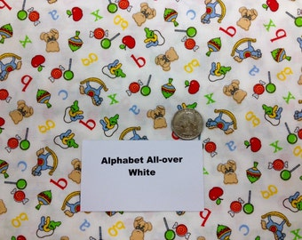 All-Over Alphabet Fabric - 2 and 1/4 Yards