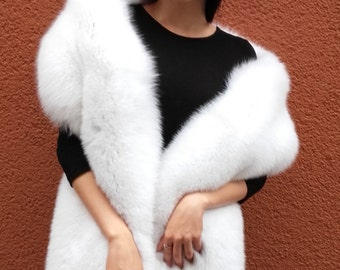 Real pure white fox fur stole X-Large.SagaFurs