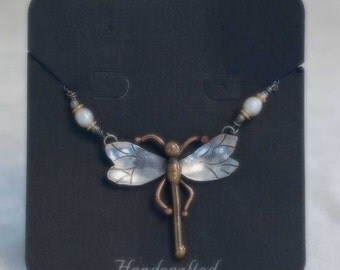 Gardella Jewelry ~ Dragonfly Pendant/Necklace ~ Silver, Copper & Brass