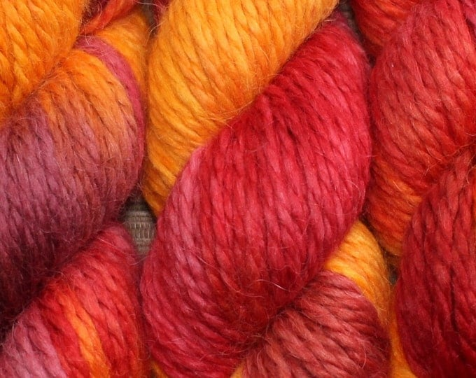 Featured listing image: Hand dyed yarn - 100g Baby Alpaca, Chunky (14 ply)  in 'Ablaze'.
