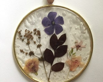 Pressed flower sun catcher