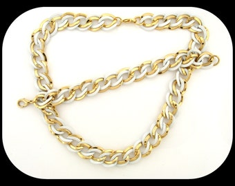 Estate SET Demi Parure Gold Plated White Enamel Link NECKLACE & BRACELET 56.76GR