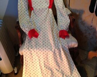 1970's cotton edwardian style maxi dress. Vintage 12.