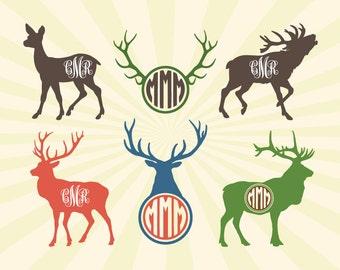 Deer SVG, Moose SVG, Deer Moose Monogram Frame SVG Cut Files - svg dxf eps png - Silhouette Cameo, Cricut, Transfer & other