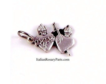 Sacred Heart of Jesus Immaculate Heart of Mary Bracelet Medal Charm | Italian Rosary Parts