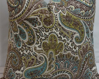 "Decorative throw pillow,  18"" square, paisley, chocolate brown, blue, natural cotton"