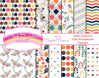 Hello Fall Digital Scrapbook Pattern Paper for Autumn | Leaves | Umbrella | Colors | Heart | Party | Thanksgiving