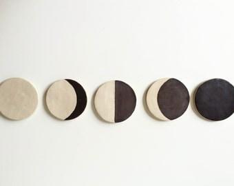 Set of 5 Ceramic Moon Phase Coasters