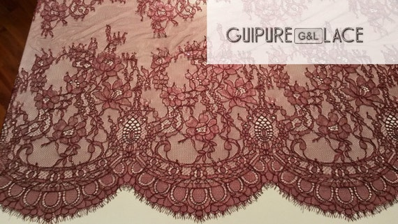 Dark red lace fabric, French Lace Chantilly Lace Bridal lace Wedding Lace Evening dress lace Scalloped Floral lace Lingerie Lace by the yard