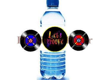 70's party water bottle labels, 80's party water bottle labels, Let's groove water bottle labels
