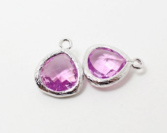 G002214/Lavender/Rhodium plated over brass/Small teardrop faceted glass Pendant/11x13mm/2pcs