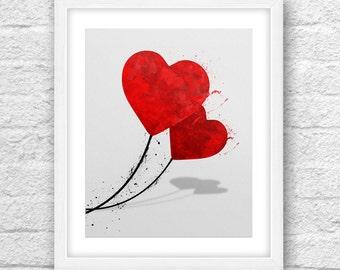 Hearts Art, Heart Print, Hearts Minimal, Hearts Watercolor, Hearts Wall Art, Minimal Design, Minimalist Art, Red Hearts, Valentine's Day
