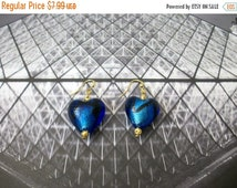 ON SALE Vintage Blue Lamp Work Glass Puff Hearts Earrings 72416