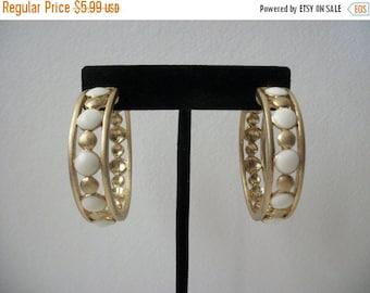 ON SALE Retro Inlaid Gold Cream Big Hoop Earrings Pierced 275