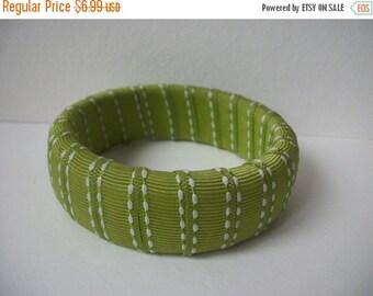 ON SALE Vintage Olive Striped Fabric Bangle 771