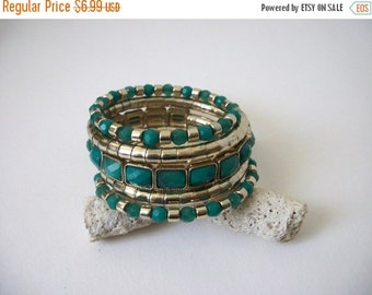 ON SALE Retro 1970s So Chic Silver Teal Green Coil Wrap Bracelet 61916