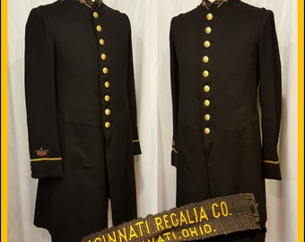 Beautiful Odd Fellows I.O.O.F. Mens Club Lodge Bullion Treasurer Dress Cermonial Tail Coat 1900's