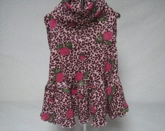 Dog Pet Rabbit Cat Pig Stretch Knit T Shirt Dress Pink Roses on Leopard Print S  Print Dress for Small Pets