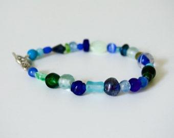 Variety Blue Glass Sea Dream Beaded Bracelet