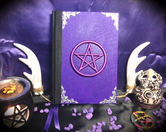"Book of shadows / Diary ""Purple Pentacle"" paganism pagan symbolism wicca handcrafted journal wizardry"