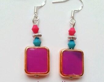 geometric earrings, geometric jewelry, geometric earrings, colorblock earrings, color block earrings, hippy earrings, rectangle earrings