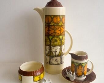 Vintage Crown Devon coffee pot, milk jug and sugar bowl