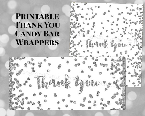 Printable Candy Bar Wrapper Labels Thank You Silver Confetti