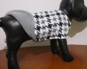 Dog Coat Fleece white and gray houndstooth dog coat