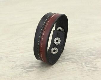 Flat leather bracelet,best friend leather bracelet,handmade leather bracelet,real leather bracelet,anniversary gift,cheap bracelet,WYJ-B413