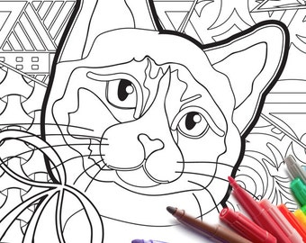 Adult Cat Coloring Page PDF download zen tangle printable adult coloring book activity cheap zentangle jpg jpeg gif bow cat kitty markers