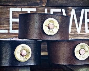 Leather bullet bracelet, cuff, bullet jewelry