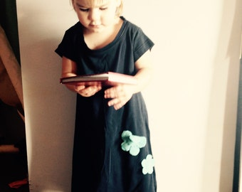 Navy little girl's dress size 2T-3T, turquoise flower accents