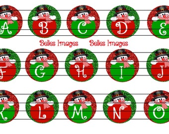 Alphabet Initials Christmas Bottle Cap Images 1 inch circles A-O (1 Sheet)