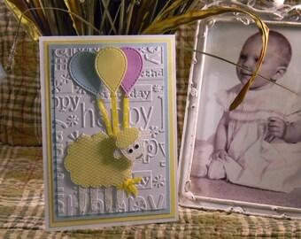 Happy Birthday Lamb Greeting Card, Happy Birthday Card, Girl or Boy Birthday Card, Embossed Greeting Card, Handmade Greeting Cards