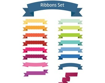 Ribbons vector - clipart commercial use, ribbons Illustration, digital clip art , vector graphics, digital images