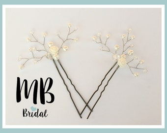 Bridal hairpins with glass pearls and white rose