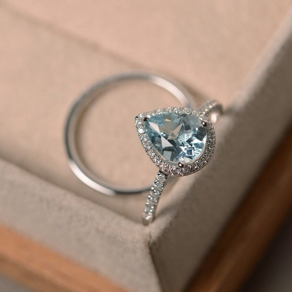 aquamarine wedding rings aquamarine ring engagement ring march birthstone wedding 1358