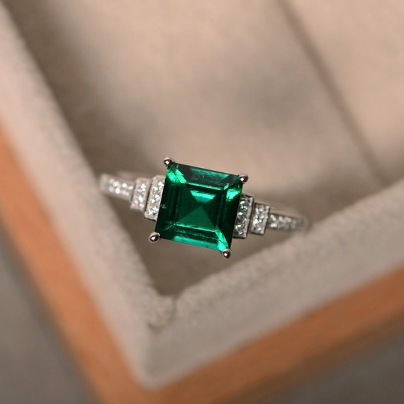 Lab Created Emerald Ring Sterling Silver Square Cut