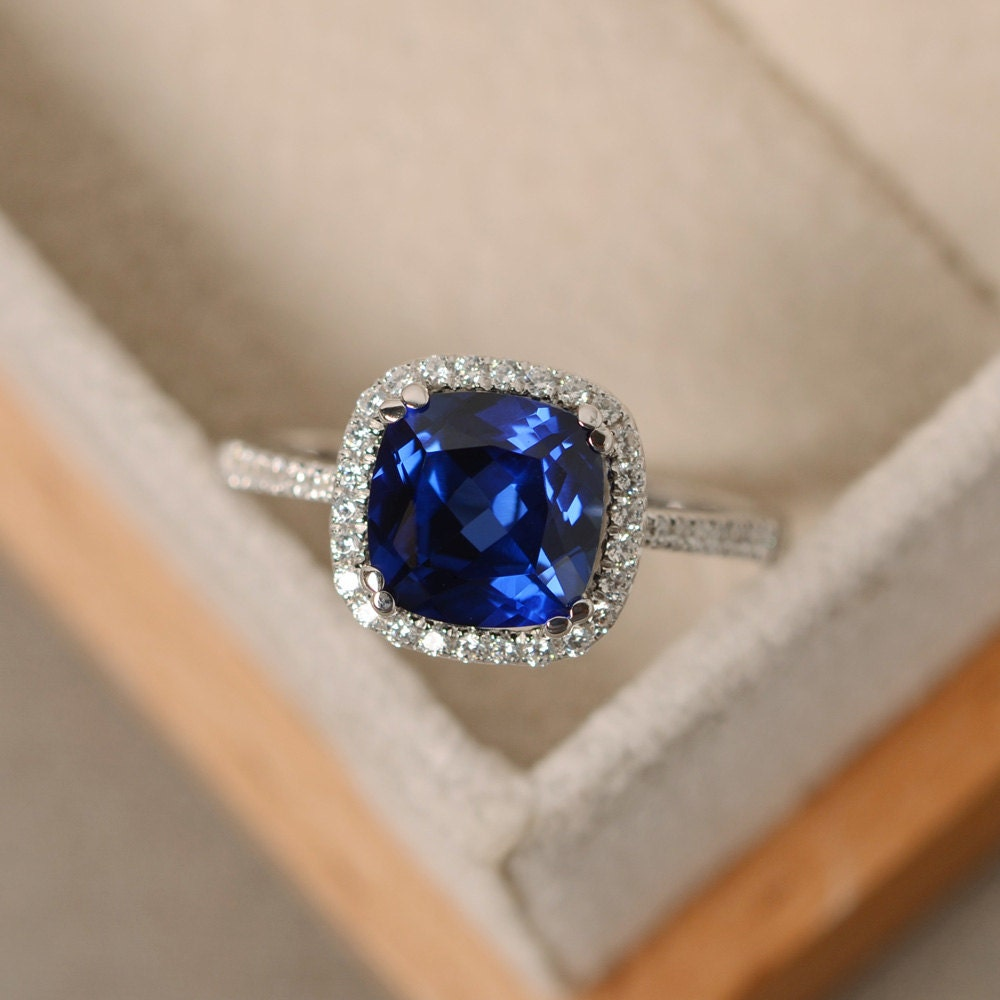 Sapphire ring cushion cut engagement ring silver blue for Sapphire wedding ring