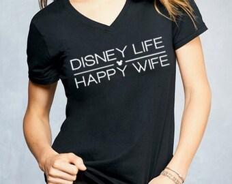 DISNEY LIFE Happy Wife Ladies V-neck Tee