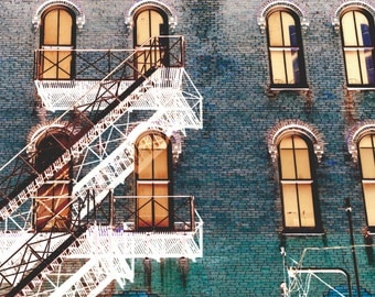 Modern Wall Art, WHITE ESCAPE, fine art photograph, abstract cityscape, modern art, turquoise, print, signed, wall decor, fire escape, brick