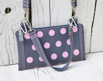 Vegan Printed Fanny Pack, Convertible Belt Bag, Grey Pink Handbag, Polka Dots Crossbody bag, Small Purse, birthday gift for friends