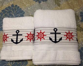 Nautical Anchor Bath Towel & Hand Towel Set NEW