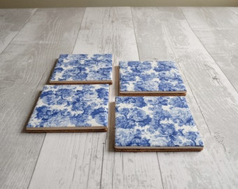 Vintage Blue Roses Coasters - Set of Four - Ready to Ship