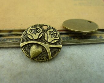 BULK 30 Owl Charms Antique Bronze Tone - WS3981