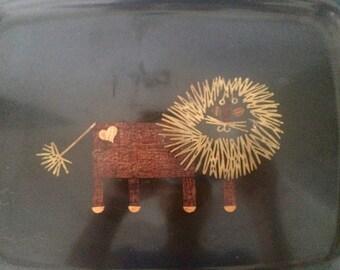 Vintage Couroc Love Lion Tray