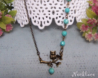Dreamy Owl Necklace / Turquoise Gemstone Beads Antiqued Brass Leaf Branch Charm Nature Inspired Woodland Lariat Holiday Everyday Gift #1444